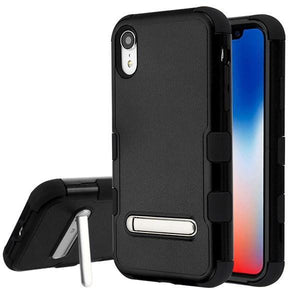 AMZER® TUFFEN Hybrid Protector Cover With Magnetic Metal Stand - Black/Black for iPhone Xr