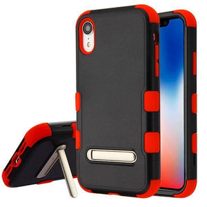 AMZER® TUFFEN Hybrid Protector Cover With Magnetic Metal Stand - Black/Red for iPhone Xr