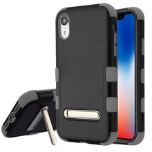 Load image into Gallery viewer, AMZER® TUFFEN Hybrid Protector Cover With Magnetic Metal Stand - Black/Gray for iPhone Xr