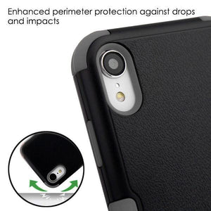 AMZER® TUFFEN Hybrid Protector Cover With Magnetic Metal Stand - Black/Gray for iPhone Xr