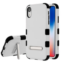 Load image into Gallery viewer, AMZER® TUFFEN Hybrid Protector Cover With Magnetic Metal Stand - Gray/Black for iPhone Xr