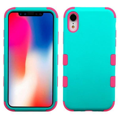 AMZER® TUFFEN Hybrid Phone Case Protector Cover - Teal Green/Pink for iPhone Xr