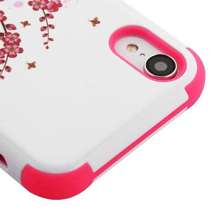 AMZER® TUFFEN Hybrid Phone Case Protector Cover - Spring Flowers/Electric Pink for iPhone Xr
