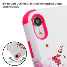 Load image into Gallery viewer, AMZER® TUFFEN Hybrid Phone Case Protector Cover - Spring Flowers/Electric Pink for iPhone Xr