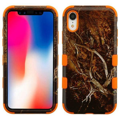AMZER® TUFFEN Hybrid Phone Case Protector Cover - Black Vine/Orange for iPhone Xr