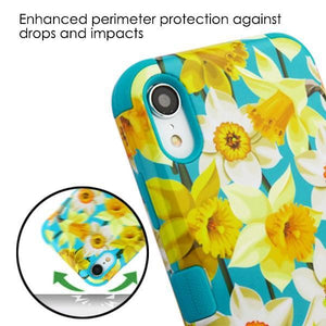 AMZER® TUFFEN Hybrid Phone Case Protector Cover - Daffodils/Tropical Teal for iPhone Xr