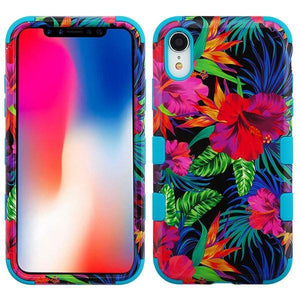AMZER® TUFFEN Hybrid Phone Case Protector Cover - Hibiscus/Tropical Teal for iPhone Xr