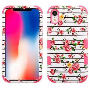 AMZER® TUFFEN Hybrid Phone Case Protector Cover - Pink Roses/Pink for iPhone Xr