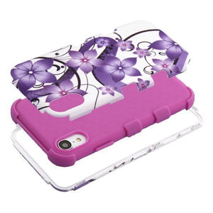 AMZER® TUFFEN Hybrid Phone Case Protector Cover - Hibiscus Flower/Purple for iPhone Xr