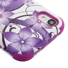 Load image into Gallery viewer, AMZER® TUFFEN Hybrid Phone Case Protector Cover - Hibiscus Flower/Purple for iPhone Xr