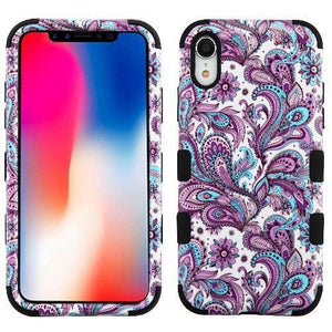 AMZER® TUFFEN Hybrid Phone Case Protector Cover - European Flowers/Black for iPhone Xr