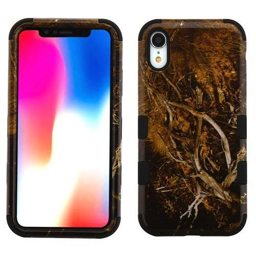 AMZER® TUFFEN Hybrid Phone Case Protector Cover - Black Vine/Black for iPhone Xr