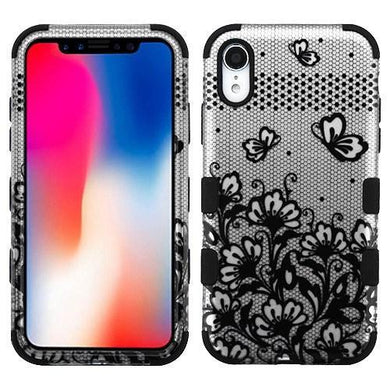 AMZER® TUFFEN Hybrid Phone Case Protector Cover - Black Lace Flowers (2D Silver)/Black for iPhone Xr