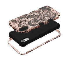 Load image into Gallery viewer, AMZER® TUFFEN Hybrid Phone Case Protector Cover - Phoenix Flower (2D Rose Gold)/Black for iPhone Xr