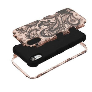 AMZER® TUFFEN Hybrid Phone Case Protector Cover - Phoenix Flower (2D Rose Gold)/Black for iPhone Xr