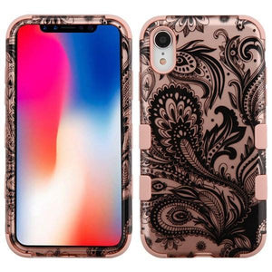AMZER® TUFFEN Hybrid Phone Case Protector Cover - Phoenix Flower (2D Rose Gold)/Rose Gold for iPhone Xr