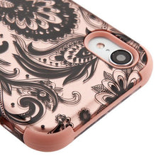 Load image into Gallery viewer, AMZER® TUFFEN Hybrid Phone Case Protector Cover - Phoenix Flower (2D Rose Gold)/Rose Gold for iPhone Xr