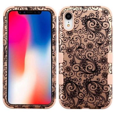 AMZER® TUFFEN Hybrid Phone Case Protector Cover - Black Four-Leaf Clover (2D Rose Gold)/Rose Gold for iPhone Xr