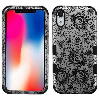 AMZER® TUFFEN Hybrid Phone Case Protector Cover - Black Four-Leaf Clover (2D Silver)/Black for iPhone Xr