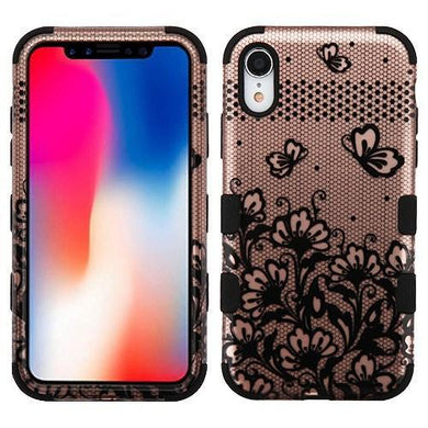 AMZER® TUFFEN Hybrid Phone Case Protector Cover -Black Lace Flowers (2D Rose Gold)/Black for iPhone Xr