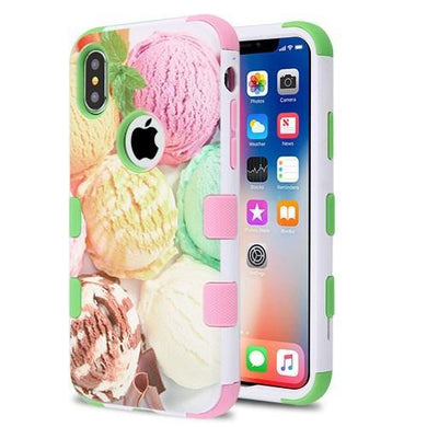 AMZER® TUFFEN Hybrid Phone Case Protector Cover - Green & Pink Ice Cream Scoops for iPhone X