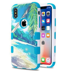 AMZER® TUFFEN Hybrid Phone Case Protector Cover - Palm Beach/Teal for iPhone X