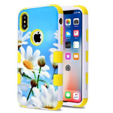 AMZER® TUFFEN Hybrid Phone Case Protector Cover - Daisy Field/Yellow for iPhone X