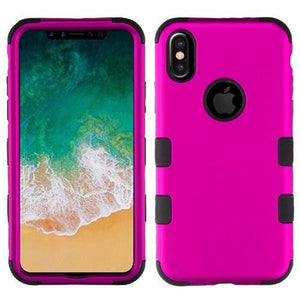 AMZER® TUFFEN Hybrid Phone Case Protector Cover - Hot Pink/Black for iPhone X