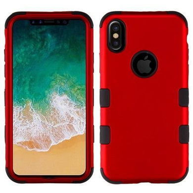 AMZER® TUFFEN Hybrid Phone Case Protector Cover - Red/Black for iPhone X