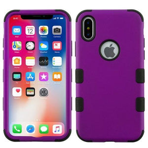 AMZER® TUFFEN Hybrid Phone Case Protector Cover - Purple/Black for iPhone X