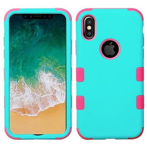 AMZER® TUFFEN Hybrid Phone Case Protector Cover - Teal Green/Pink for iPhone X