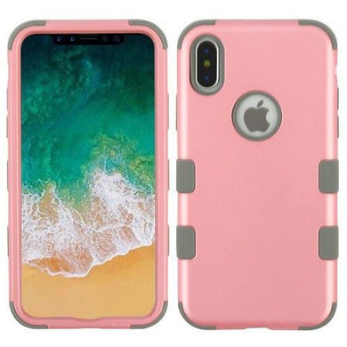 AMZER® TUFFEN Hybrid Phone Case Protector Cover - Pearl Pink/Iron Gray for iPhone X