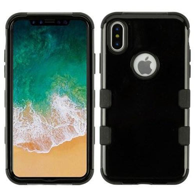 AMZER® TUFFEN Hybrid Phone Case Protector Cover - Jet Black/Black for iPhone X