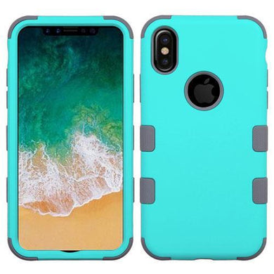 AMZER® TUFFEN Hybrid Phone Case Protector Cover - Teal Green/Iron Gray for iPhone X