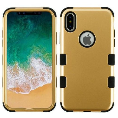 AMZER® TUFFEN Hybrid Phone Case Protector Cover - Gold/Black for iPhone X