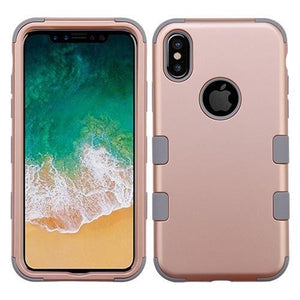 AMZER® TUFFEN Hybrid Phone Case Protector Cover - Rose Gold/Iron Gray for iPhone X