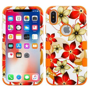 AMZER® TUFFEN Hybrid Phone Case Protector Cover - Hibiscus Flower /Orange for iPhone X
