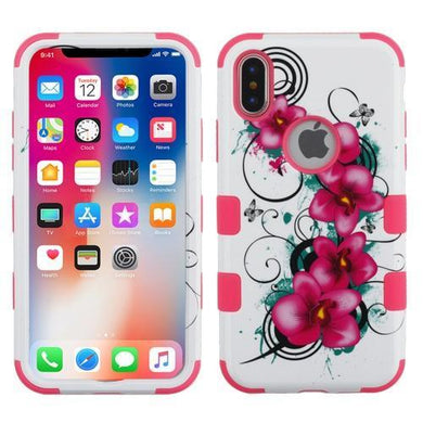 AMZER® TUFFEN Hybrid Phone Case Protector Cover - Morning Petunias/Pink for iPhone X