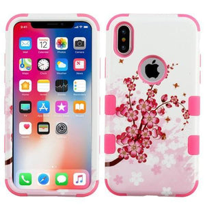 AMZER® TUFFEN Hybrid Phone Case Protector Cover - Spring Flowers/Pink for iPhone X