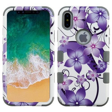 AMZER® TUFFEN Hybrid Phone Case Protector Cover - Purple Hibiscus Flower/Iron Gray for iPhone X