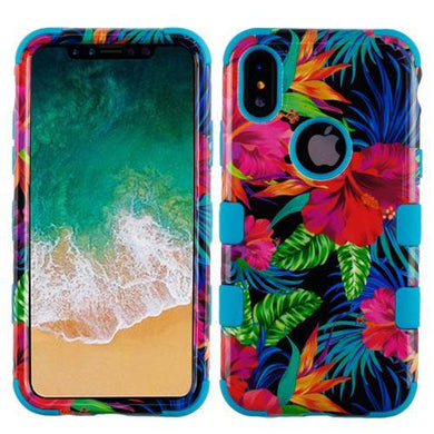 AMZER® TUFFEN Hybrid Phone Case Protector Cover - Hibiscus/Tropical Teal for iPhone X