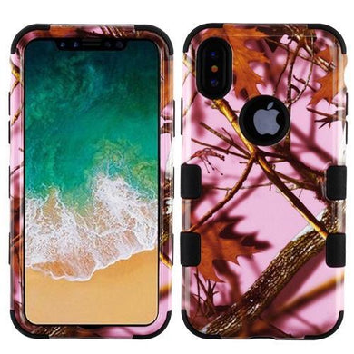 AMZER® TUFFEN Hybrid Phone Case Protector Cover - Pink Oak-Camouflage/Black for iPhone X
