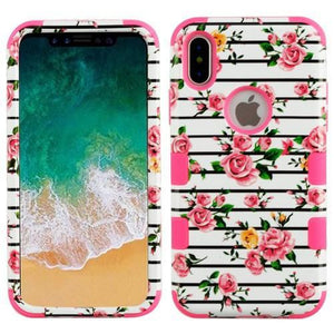AMZER® TUFFEN Hybrid Phone Case Protector Cover - Pink Roses/Pink for iPhone X