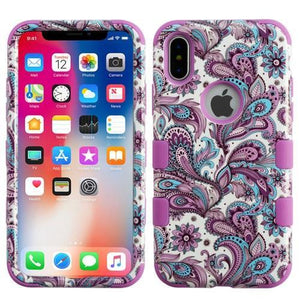 AMZER® TUFFEN Hybrid Phone Case Protector Cover - European Flowers/Purple for iPhone X