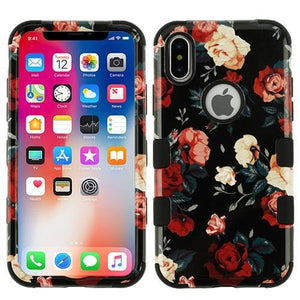 AMZER® TUFFEN Hybrid Phone Case Protector Cover - Red and White Roses/Black for iPhone X