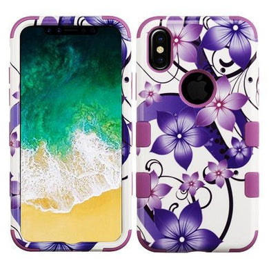 AMZER® TUFFEN Hybrid Phone Case Protector Cover - Purple Hibiscus Flower/Purple for iPhone X