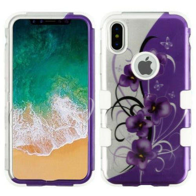 AMZER® TUFFEN Hybrid Phone Case Protector Cover - Twilight Petunias (2D Silver)/White for iPhone X