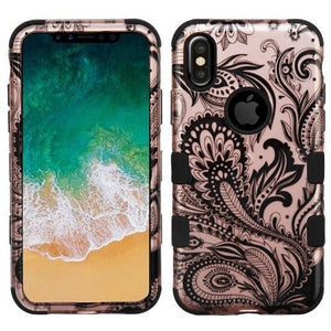 AMZER® TUFFEN Hybrid Phone Case Protector Cover - Phoenix Flower (2D Rose Gold)/Black for iPhone X