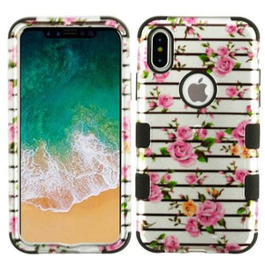 AMZER® TUFFEN Hybrid Phone Case Protector Cover - Pink Fresh Roses (2D Silver)/Black for iPhone X