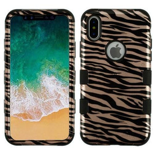 AMZER® TUFFEN Hybrid Phone Case Protector Cover - Zebra Skin/Black (2D Rose Gold)/Black for iPhone X
